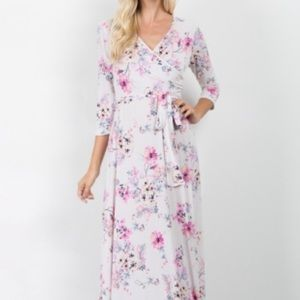 [Pink blush] NWT floral maxi wrap dress